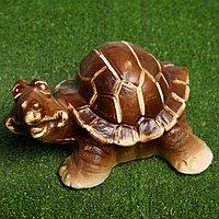 """Садовая фигура """"Счастливая черепаха"""", коричневый цвет, 16 см"""