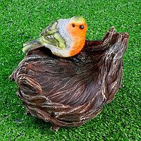 "Подвесной декор - кормушка ""Гнездо с птичкой""18х17х12см"