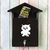 Ящик почтовый с замком, вертикальный, «Домик», чёрный, фото 1
