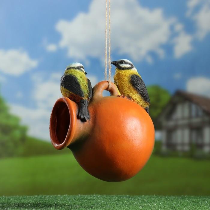 "Подвесной декор ""Кормушка кувшин с птичками"""