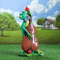 """Садовая фигура """"Лягушка с контрабасом"""", зелёный цвет, 46 см, фото 1"""