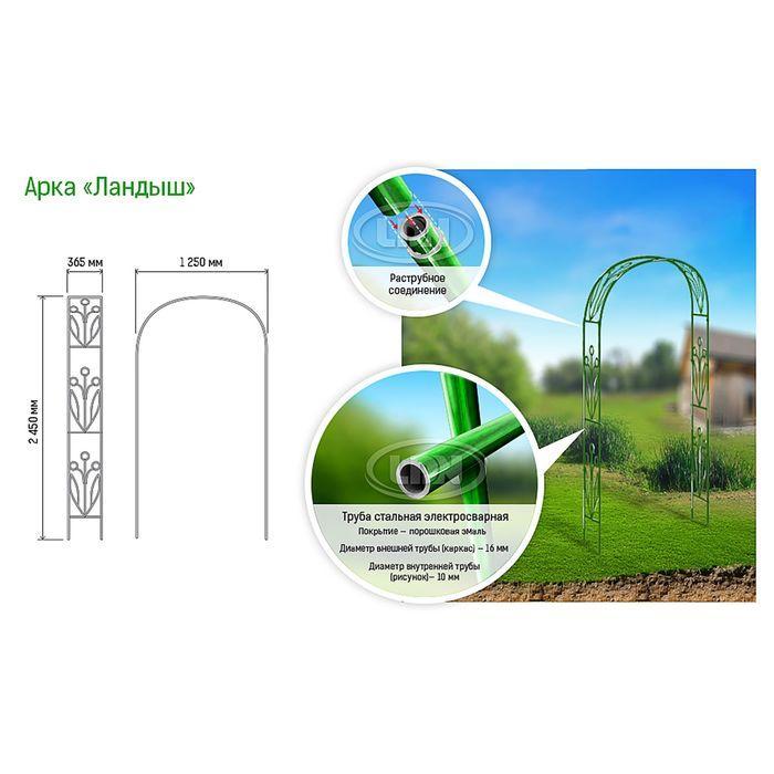 Арка садовая, разборная, 230 × 125 × 36.5 см, металл, зелёная, «Ландыш» - фото 2