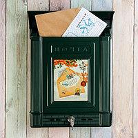 Ящик почтовый, пластиковый, «Декор», с замком, зелёный, фото 1