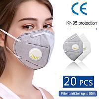 Респиратор-маска для лица KN95 с клапаном (степень защиты FFP2) МАСКА ЗАЩИТНАЯ МНОГОРАЗОВАЯ (5-ти слойная 72ч)