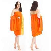 Набор д/сауны махр. жен (Килт(юбка)80х160, полотенце 50х90), цвет оранжевый