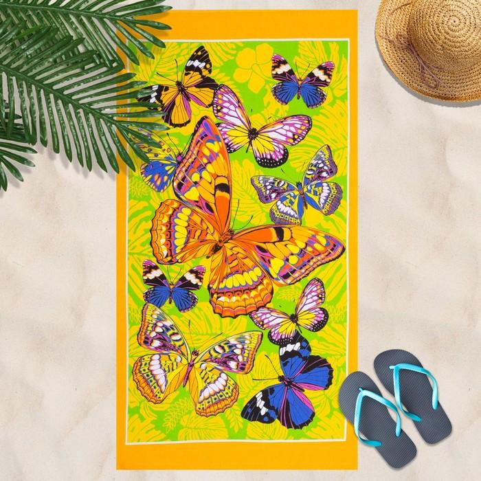 Вафельное полотенце Бабочки 80х150 см, желтый, хлопок 100 %, 160г/м²
