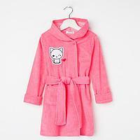 Халат для девочки, цвет розовый/кошечка, рост 98 см