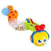 Детская развивающая погремушка с прорезывателем Музыкальная Гусеница, PlaySmart, Артикул: 7552.