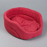 Лежанка овальная, 38 х 25 х 14 см, мебельная ткань, красная, фото 1