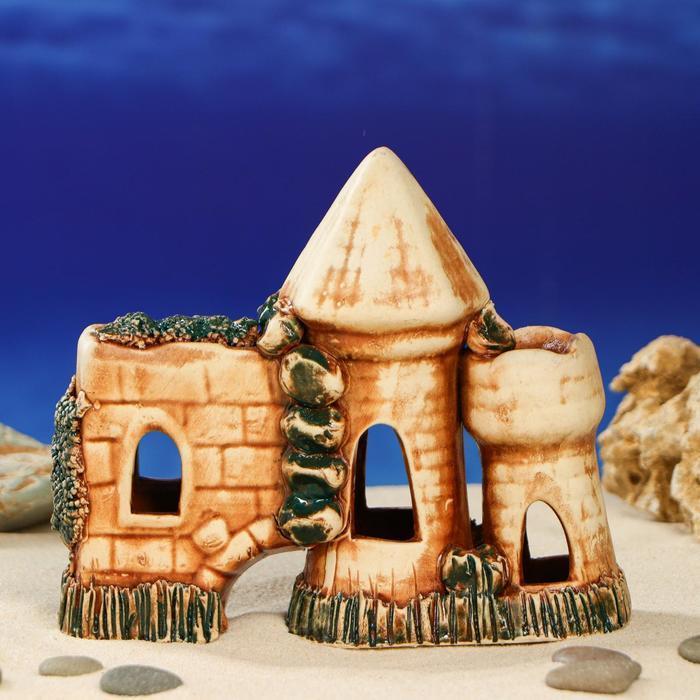 "Декорация для аквариума ""Стена с башнями'', 16 см, под шамот, микс"