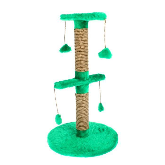 Столбик-когтеточка двойной на основании, с игрушками, 40 х 40 х 70 см, микс цветов