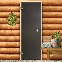 Дверь для бани и сауны стеклянная, 190×70см, 6мм, бронза матовая, левое открывание
