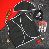 Карнавальный костюм «Пират», 6 предметов: шляпа, жилетка, наглазник, кортик, крюк, кодекс