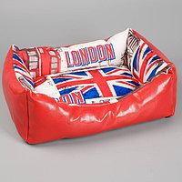 Лежанка прямоугольная, 45 х 35 х 13 см, искусственная кожа/мебельная ткань, микс цветов