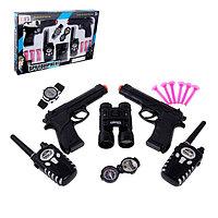 Игровой набор шпиона «Двойной агент»: 2 пистолета, 2 рации, часы, компас, бинокль