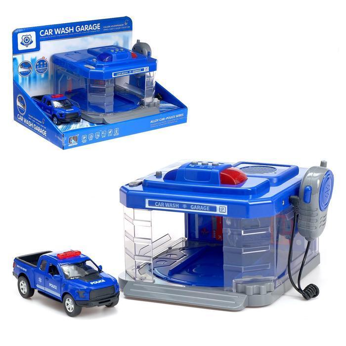 Парковка «Полицейский участок» с машинкой и рацией, световые и звуковые эффекты