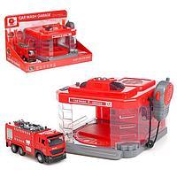 Парковка «Пожарная часть» с машинкой и рацией, световые и звуковые эффекты, МИКС, фото 1