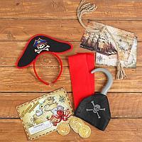 Карнавальный набор «Джо Сильвер», детский, ободок, пояс, крюк, карта, монеты