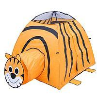 Игровая палатка «Тигр» с туннелем, цвет оранжевый, фото 1