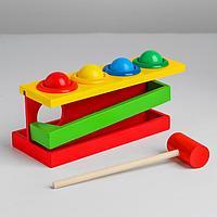 Стучалка на прямоугольном основании с 4 шариками, спуском и молоточком, фото 1