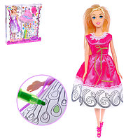 """Кукла модель """"Лиза"""" в платье для рисования, с наклейками и аксессуаром, МИКС, фото 1"""
