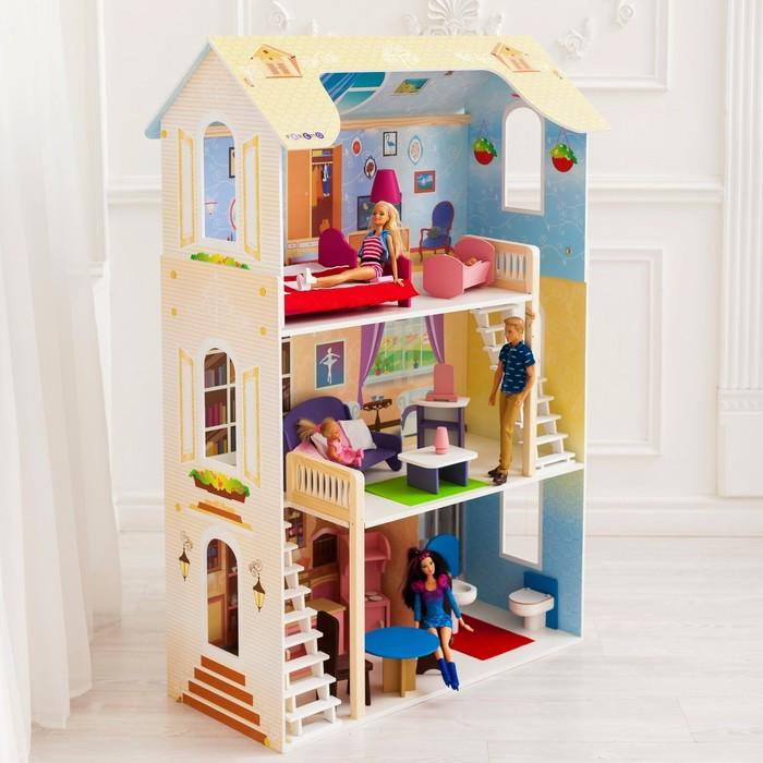 Кукольный домик «Шарм», 16 предметов мебели, 2 лестницы