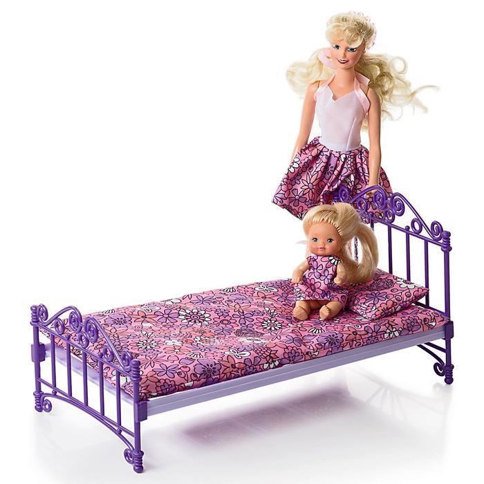 Кроватка, фиолетовая, с постельным бельём, в пакете