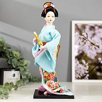 """Кукла коллекционная """"Японка в голубом кимоно с зонтом"""" 30х12,5х12,5 см"""