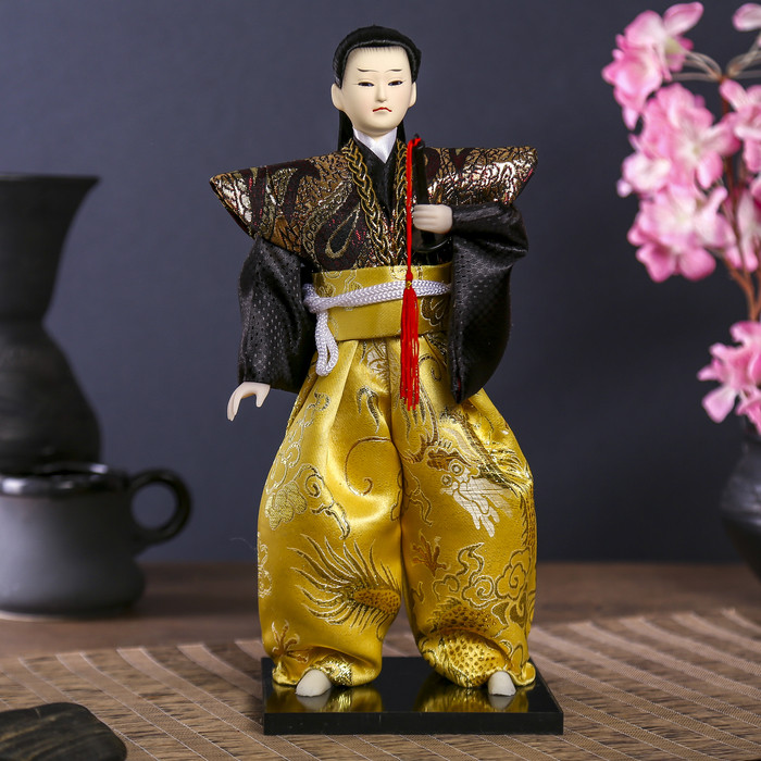 """Кукла коллекционная """"Самурай с длинными волосами с мечом"""" 30х12,5х12,5 см - фото 1"""