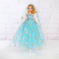 Кукла на подставке «Принцесса», голубое платье в цветок, фото 1