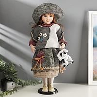 "Кукла коллекционная керамика ""Жанна с мишкой"" 60 см"