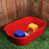 Набор для игры с песком: песочница 250 л, 2 табурета, пластик, красный