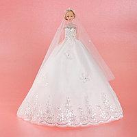 Кукла на подставке «Принцесса», белое платье с кружевом, фото 1