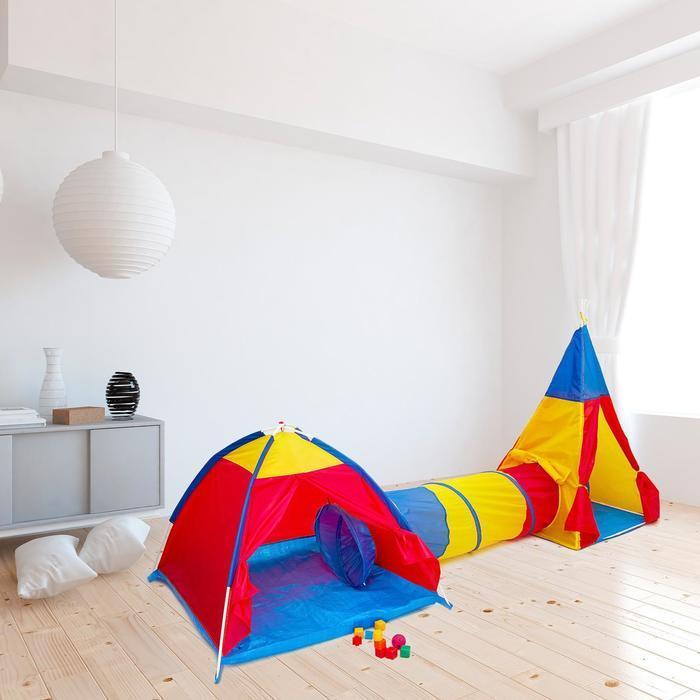 Игровой комплекс «Две палатки с туннелем», палатки: 96 × 116; 137 × 90 см, туннель: 144 × 48 см