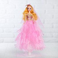 Кукла на подставке «Принцесса», розовое платье, на голове цветок, фото 1
