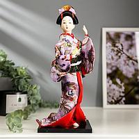 """Кукла коллекционная """"Японка в цветочном кимоно с бабочкой на руке"""" 30х12,5х12,5 см"""