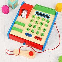 """Игрушка деревянная """"Касса"""", в наборе деревянные монетки, карта, кнопки нажимаются, фото 1"""