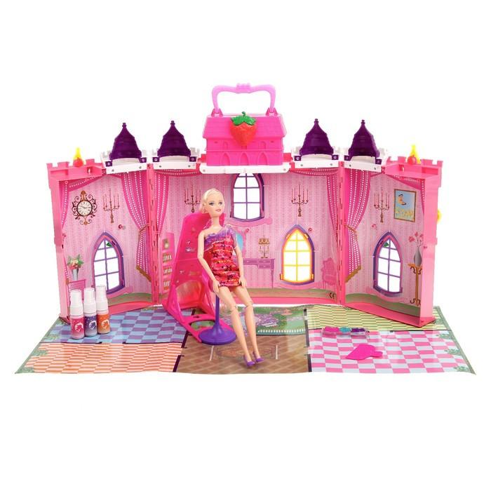 Замок для кукол «Сказка», с куклой шарнирной и аксессуарами для создания причёски