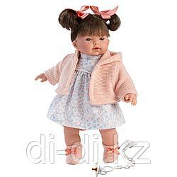 LLORENS: Кукла Рита 33см, брюнетка в розовой курточке и цветочном платье