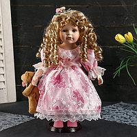 """Кукла коллекционная керамика """"Алина в нежно-розовом платье с мишкой"""" 35 см"""
