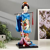 """Кукла коллекционная """"Японка в шелковом голубом кимоно с флейтой"""" 30х12,5х12,5 см"""