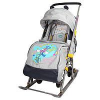 Санки коляска «Ника детям 7. Жонглер» с колёсами, цвет серый
