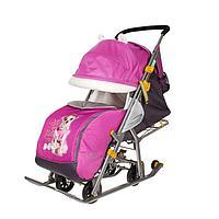 Санки коляска «Ника детям 7-2. Коллаж - собака/орхидея»