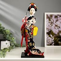 """Кукла коллекционная """"Японка в цветочном кимоно с флейтой"""" 30х12,5х12,5 см"""