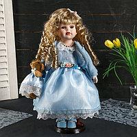 """Кукла коллекционная керамика """"Танюша в нежно-голубом платье, свитере, с мишкой"""" 37 см"""