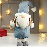"""Кукла интерьерная """"Дедушка в голубом колпаке и полосатой кофте"""" 66х15х25 см"""