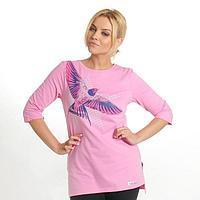 """Джемпер удлиненный женский KAFTAN """"Птица"""", цвет розовый, размер XS(42), хлопок 100%"""