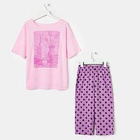Комплект женский (футболка, бриджи), цвет розовый/сиреневый, размер 46