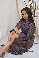 Пальто кашемировое коричневого цвета в черную полоску La Vie, Турция 46