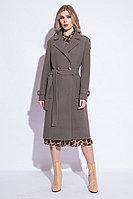 Пальто демисезонное, велюр, 40-48, серо-зеленый